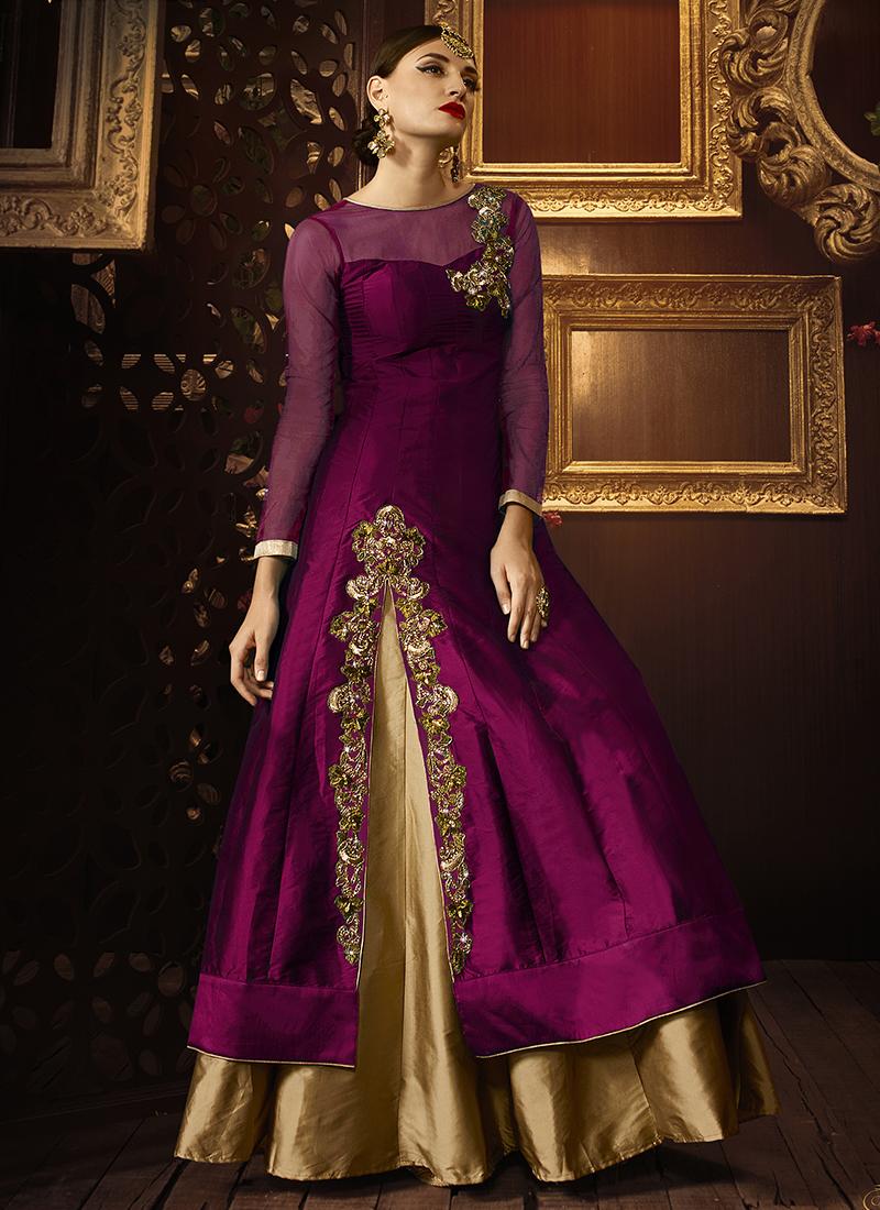7712117d9e Buy Magenta color taffeta silk party wear lehenga in UK, USA and ...