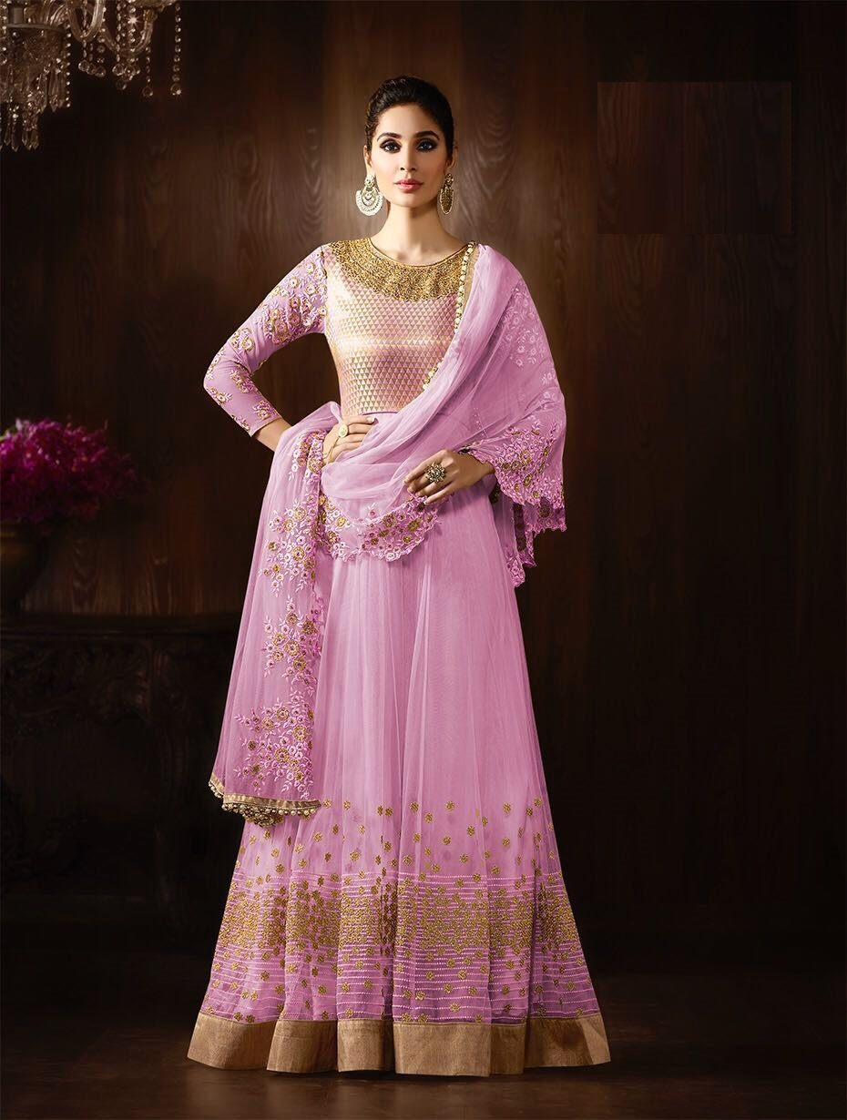 7366a45761 Buy Pink color net embroidered party wear anarkali kameez in UK ...