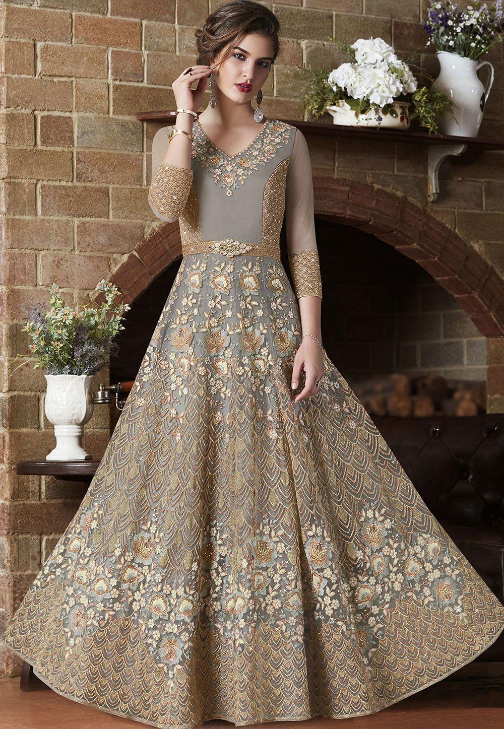 Indian Wedding Outfits.Dusty Net Indian Wedding Wear Anarkali Suit 4505