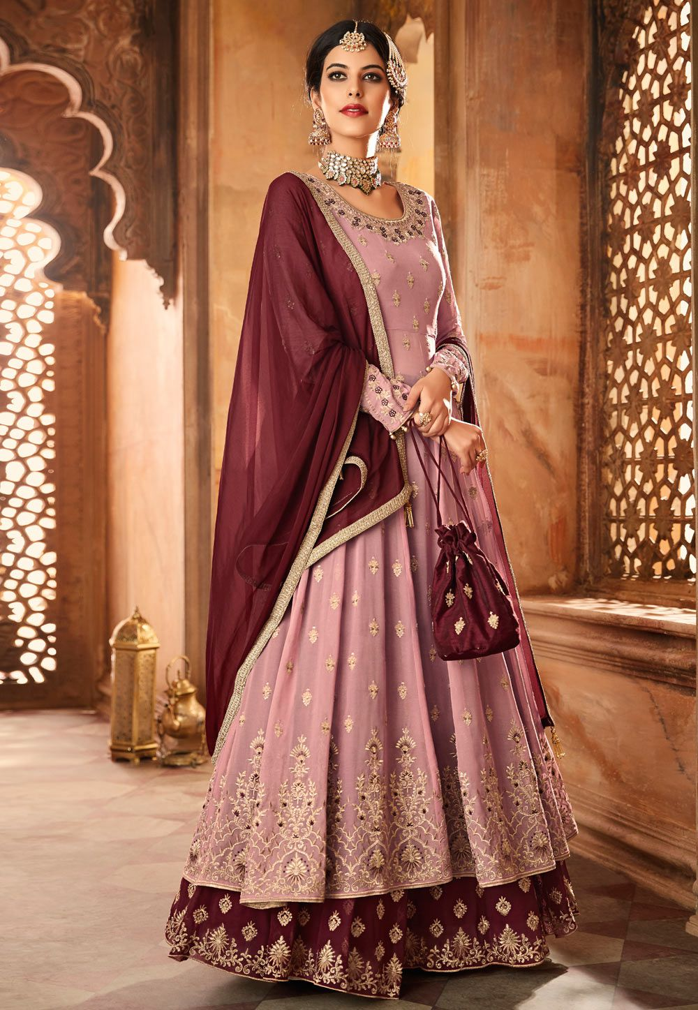 18d628799f84f Buy Onion pink and purple georgette wedding lehenga in UK, USA ...