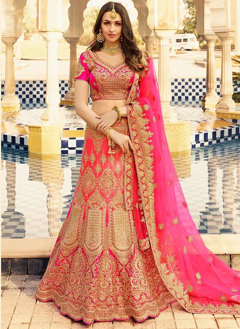 d54ef236fea7 Pink color heavy work wedding lehenga choli 13070