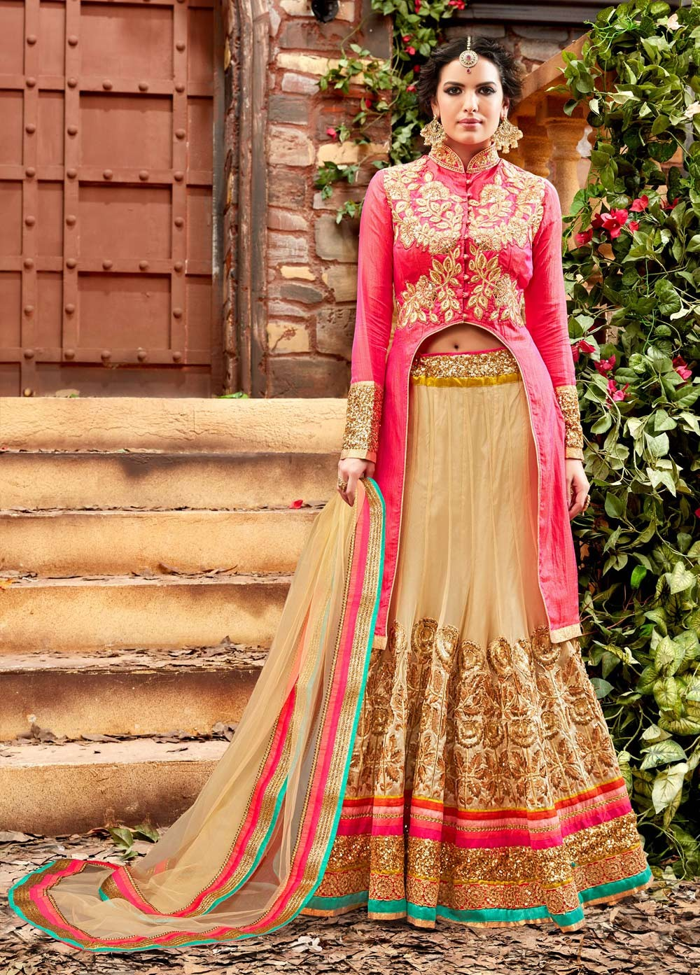 2b03315ac9 Buy Beige and pink netted wedding lehenga choli in UK, USA and ...