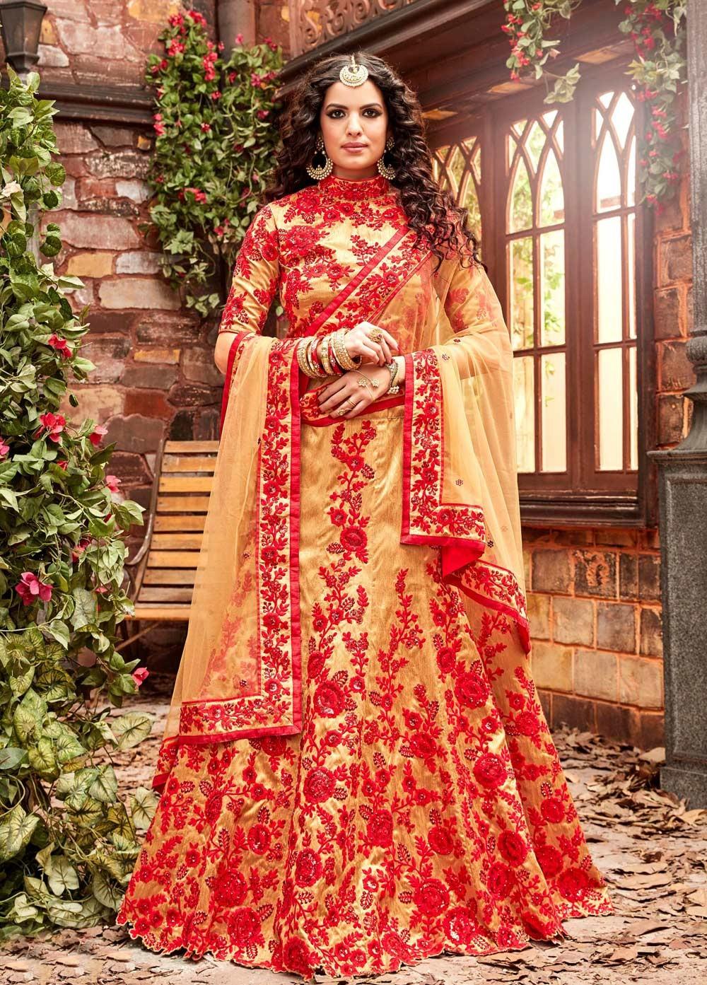 3f9f829215 Buy Gold and red silk wedding lehenga choli in UK, USA and Canada
