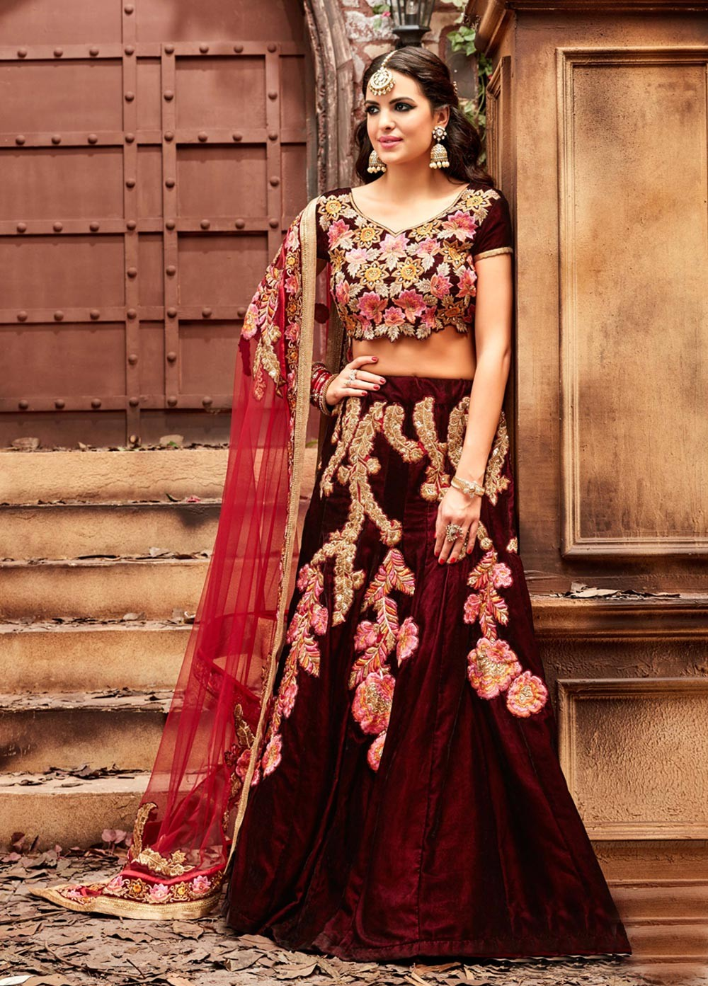 dda785616a Buy Maroon color velvet wedding lehenga choli in UK
