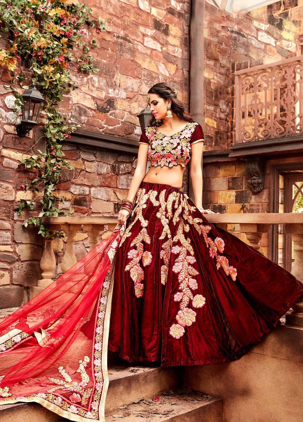 Buy Maroon color velvet wedding lehenga choli in UK, USA and Canada