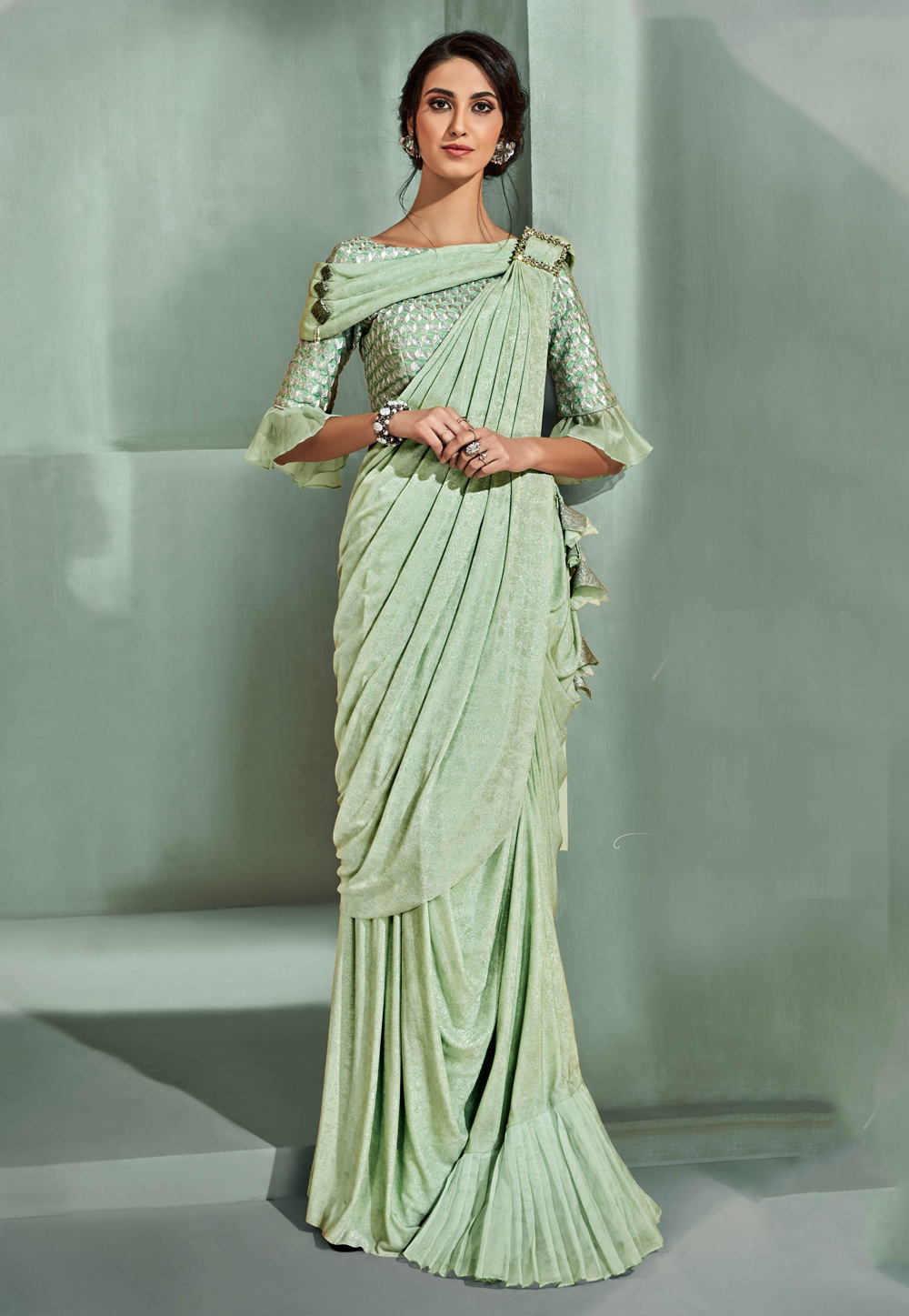 Pista Green Lycra Party Wear Saree With Frill Sleeve 5313