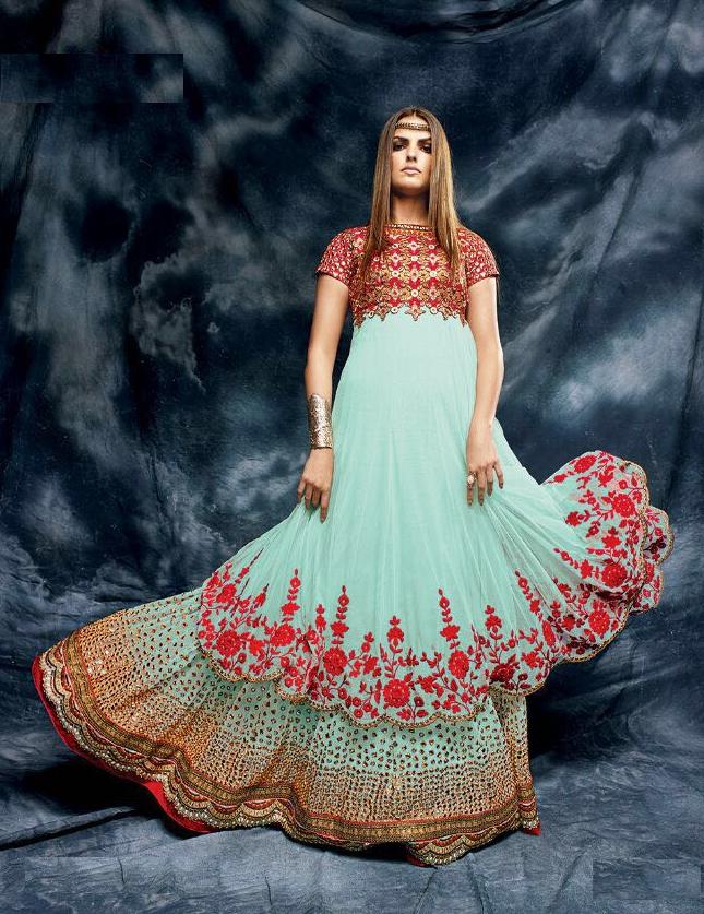 Designer Anarkali | Skyblue and red color net and silk designer ...