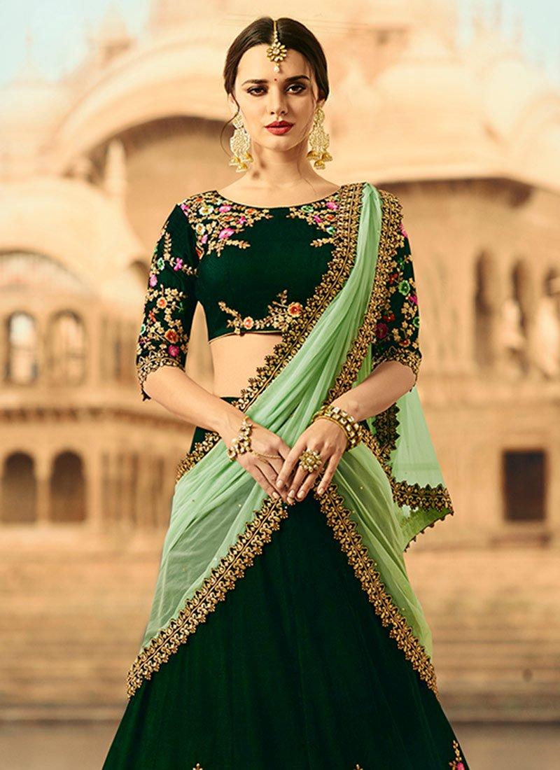 f672883079 Buy Dark green velvet wedding lehenga choli in UK, USA and Canada