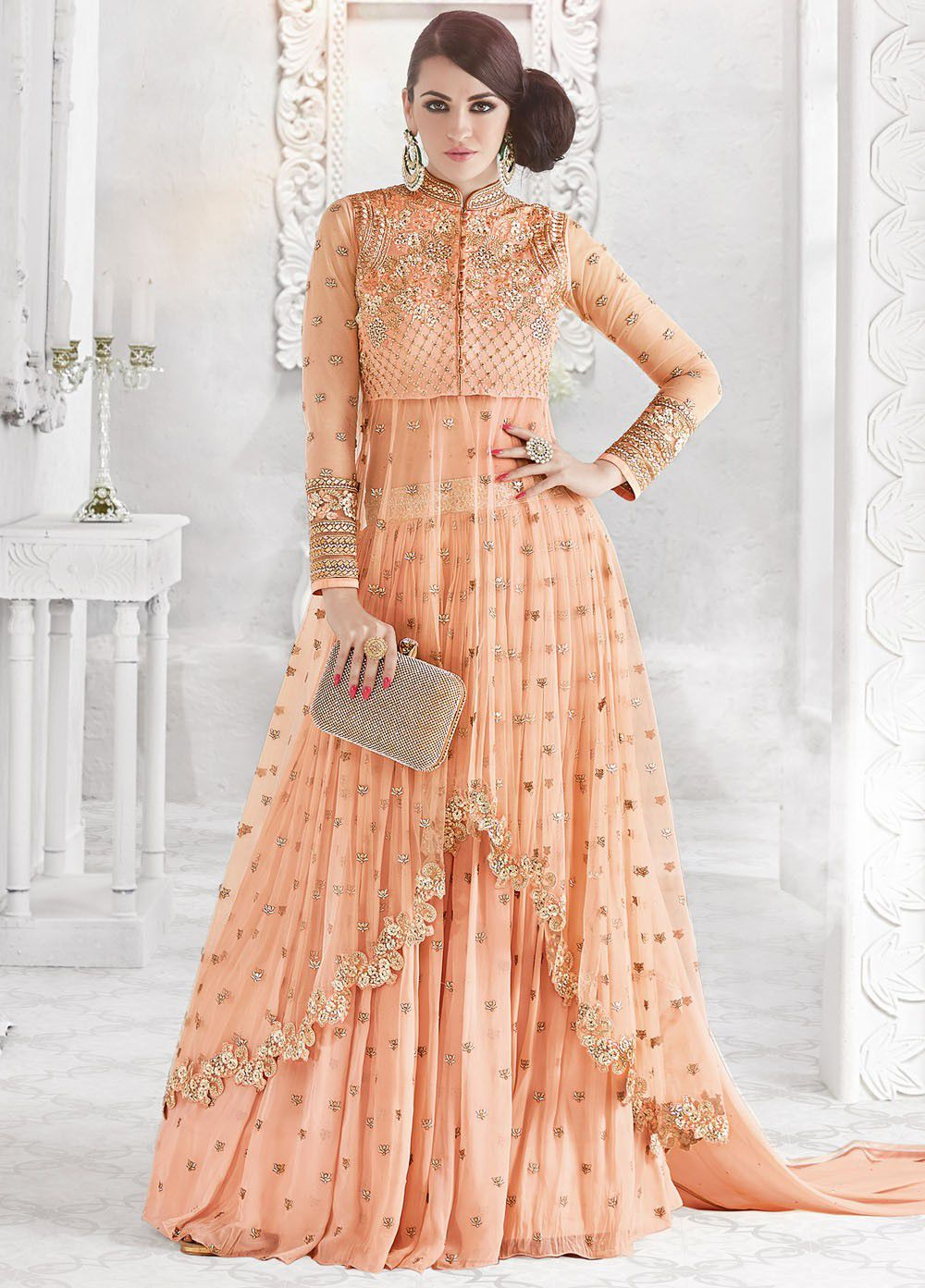 177ba0fcc645a Orange color georgette and net party wear ghaghara and pant style 2-in-1  look