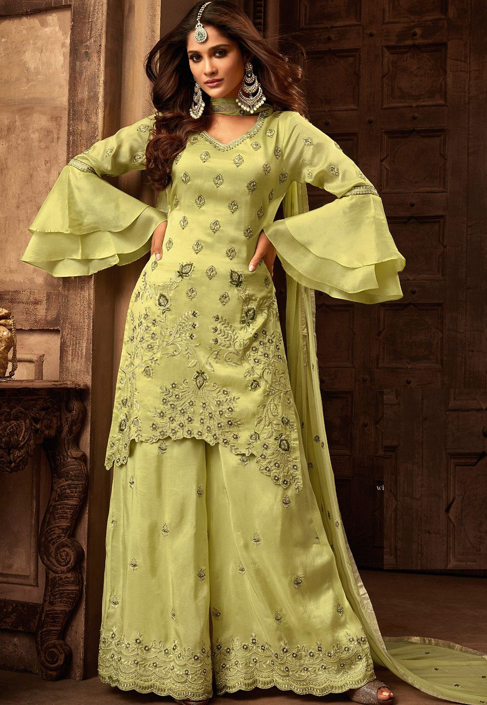 6919adb623 green georgette satin heavy embroidered sharara style pakistani suit ...