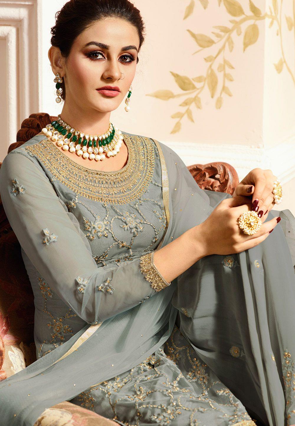 fe3fff765b grey satin net embroidered sharara style heavy pakistani suit 15306