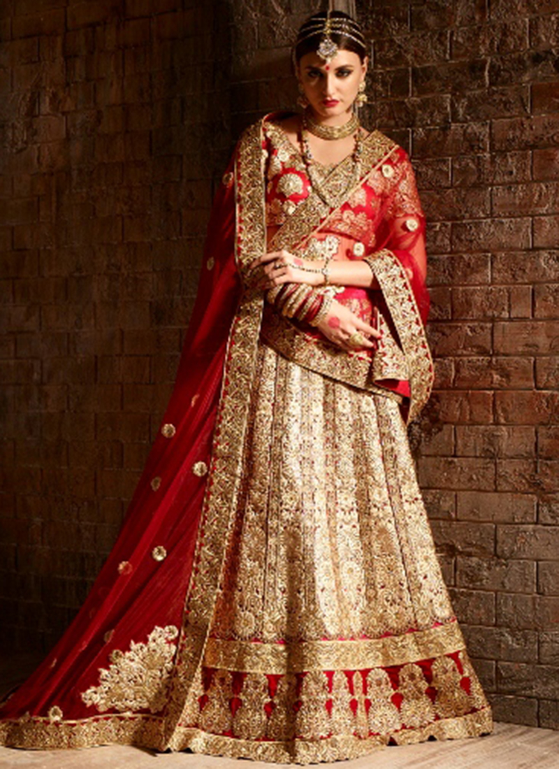 a5d663826b Buy Cream and red net bridal lehenga choli in UK, USA and Canada