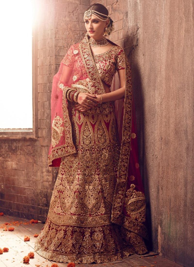 47e9c90b904 Buy Fushcia color net bridal lehenga choli in UK, USA and Canada