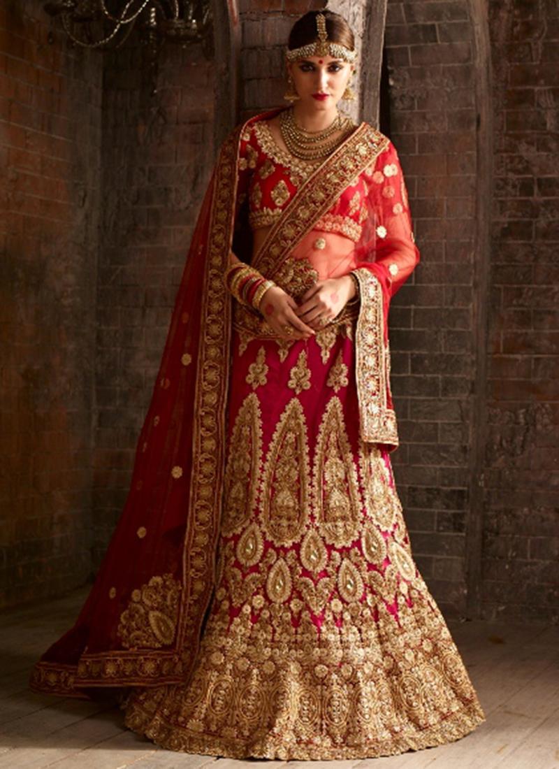 f840de1ea8 Buy Red net bridal lehenga choli in UK, USA and Canada