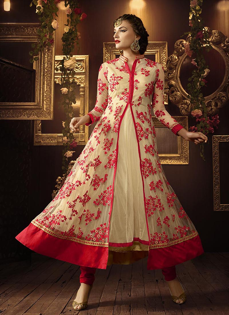 bad4446f19 Buy Cream and red color netted party wear anarkali salwar kameez in ...
