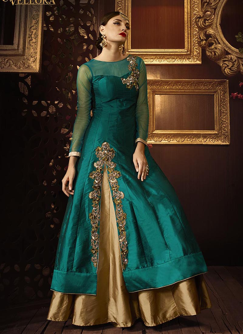 Buy Teal Green Color Taffeta Silk Party Wear Lehenga In Uk