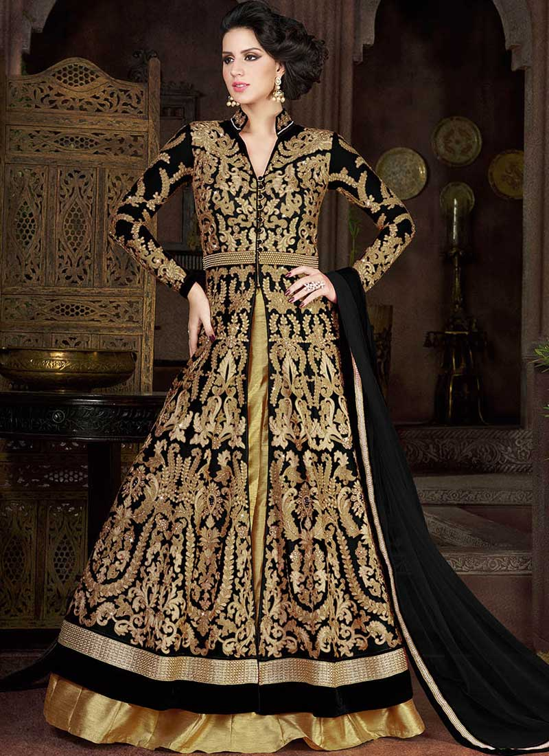 a328ef7ba33 Buy Black color net party wear anarkali salwar kameez in UK