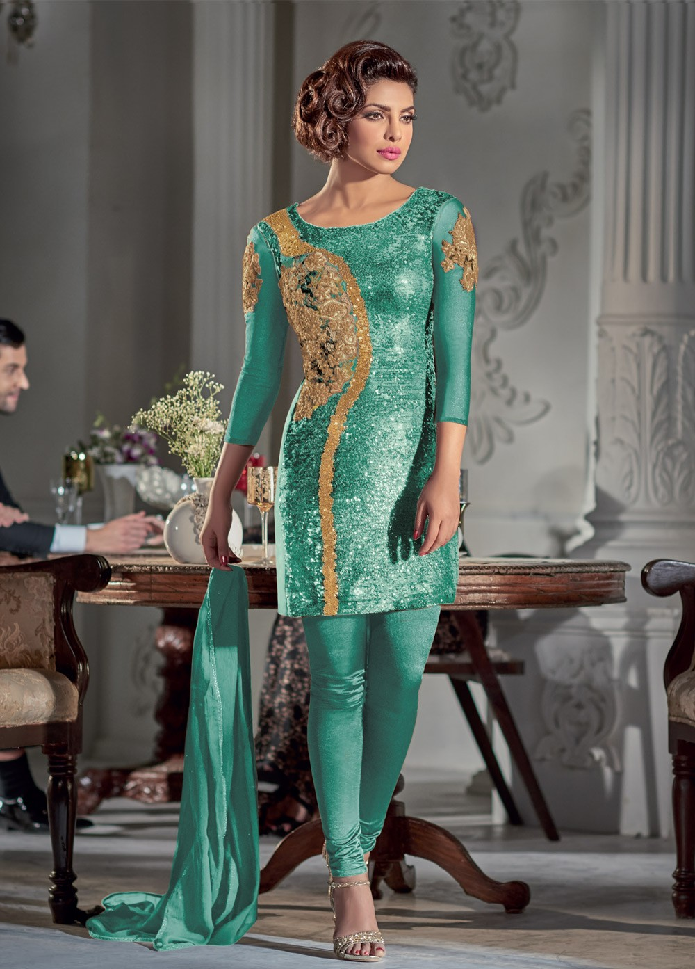 32219eb7048 Gorgeous Priyanka Chopra Sea green Georgette straight cut salwar kameez