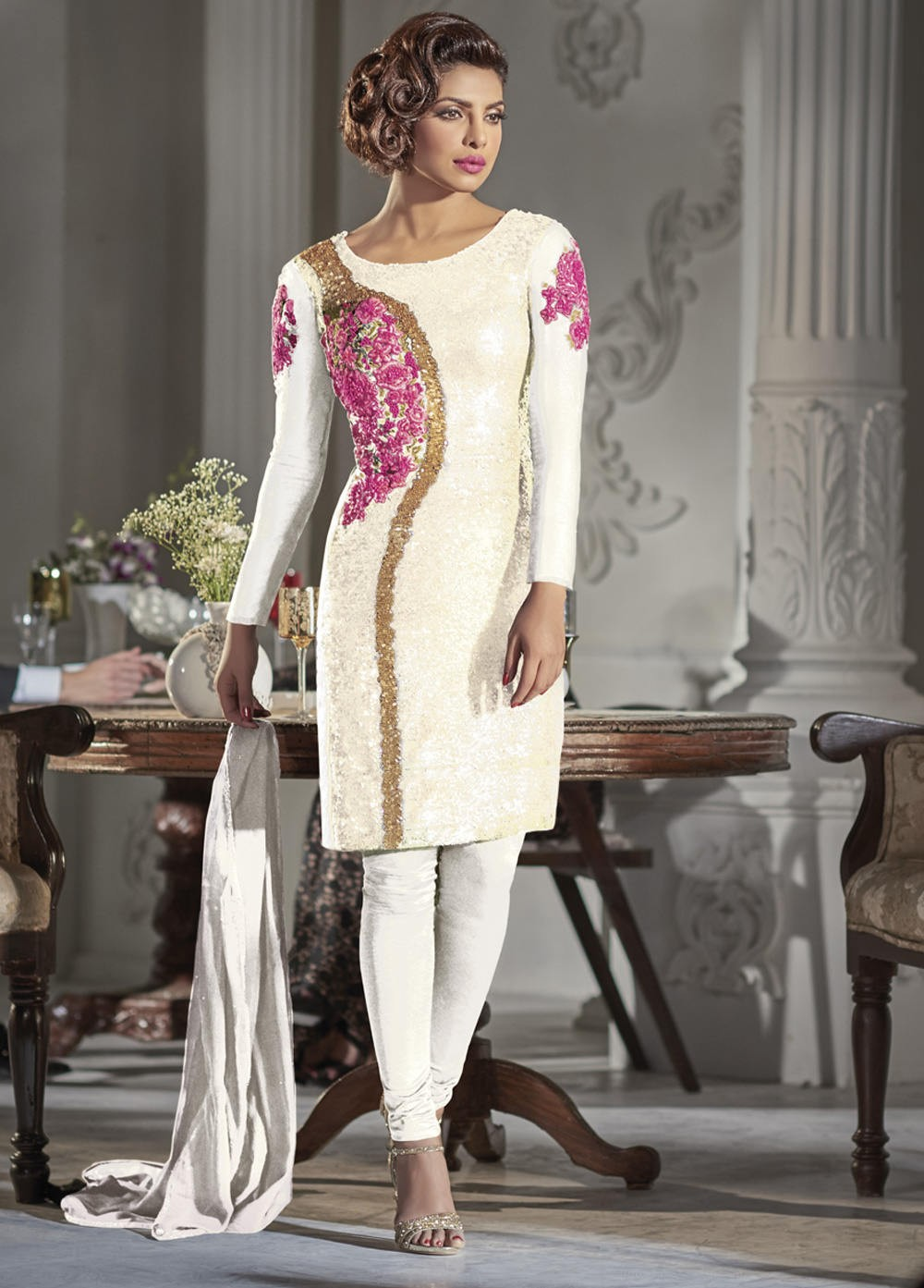 1595062ea42 Gorgeous Priyanka Chopra white color Georgette straight cut salwar kameez