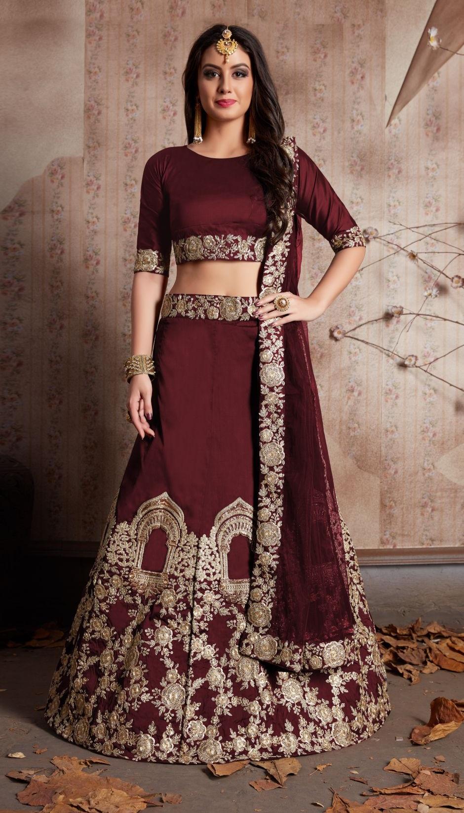 4b6415518e31 Indian Dress Brown Color Bridal Lehenga 529