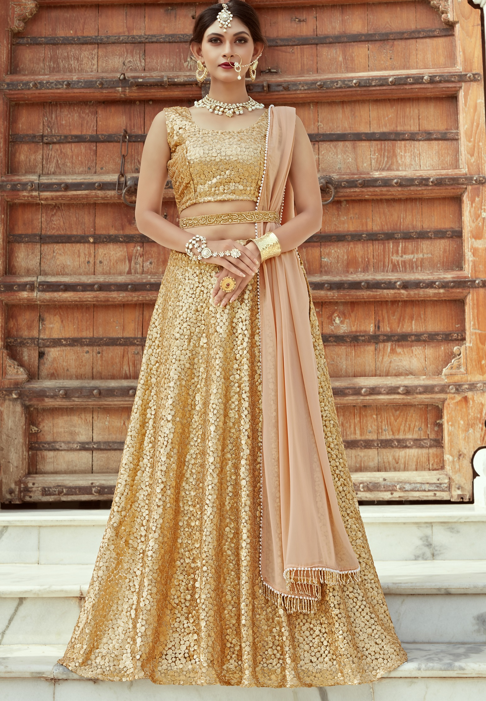 Indian Dress Gold Color Bridal Lehenga 1104