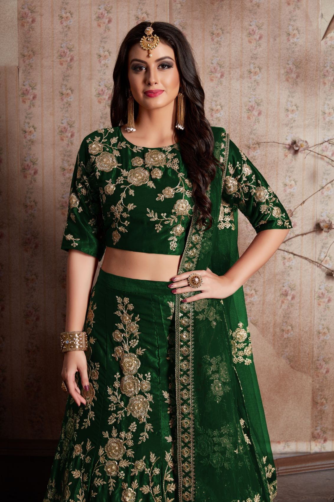 Indian Dress Green Color Bridal Lehenga 359G