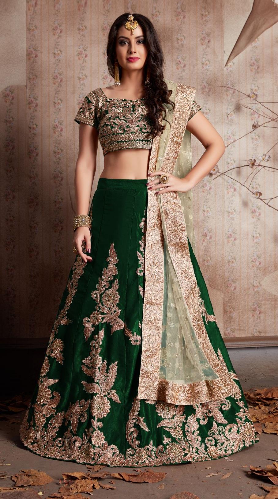 6024462cd26 Indian Dress Green Color Bridal Lehenga 603