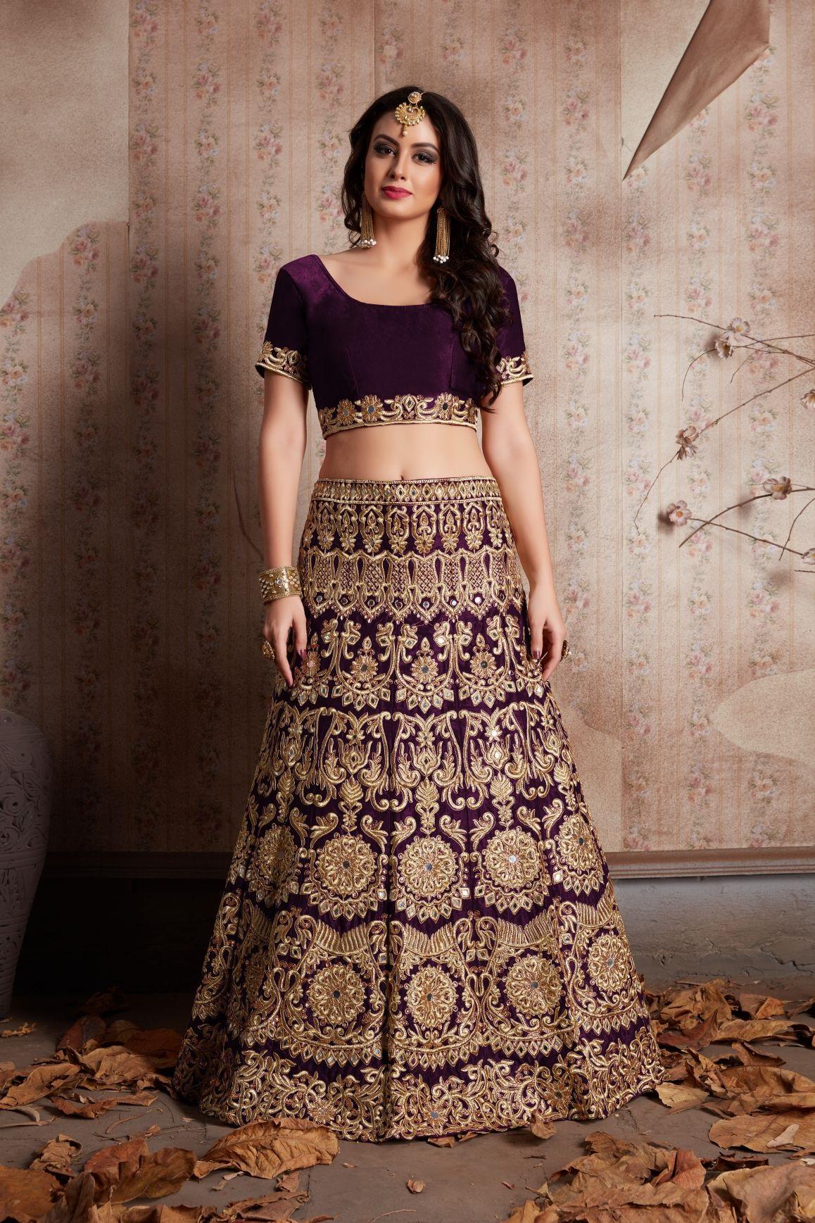 Indian Dress Purple Color Bridal Lehenga 611