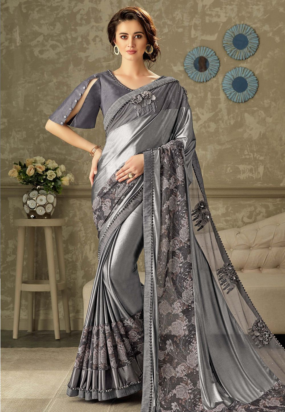 6a471ccc96 grey embroidered lycra saree with raw silk blouse 10704