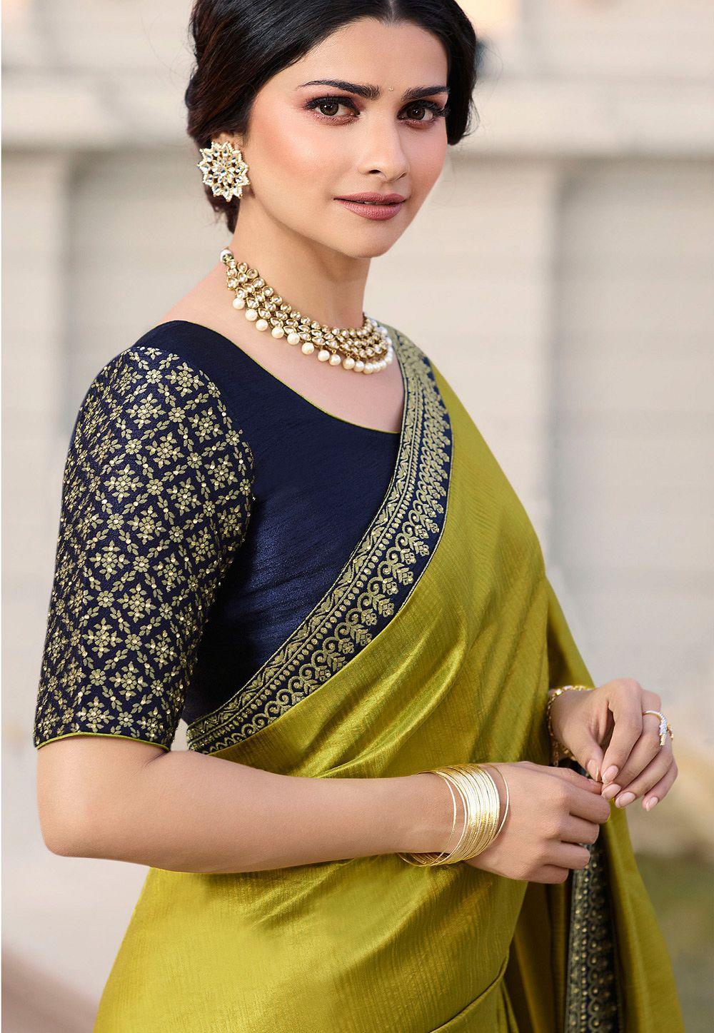 02f313e4475092 prachi desai mustard banarasi silk saree with blouse 20764