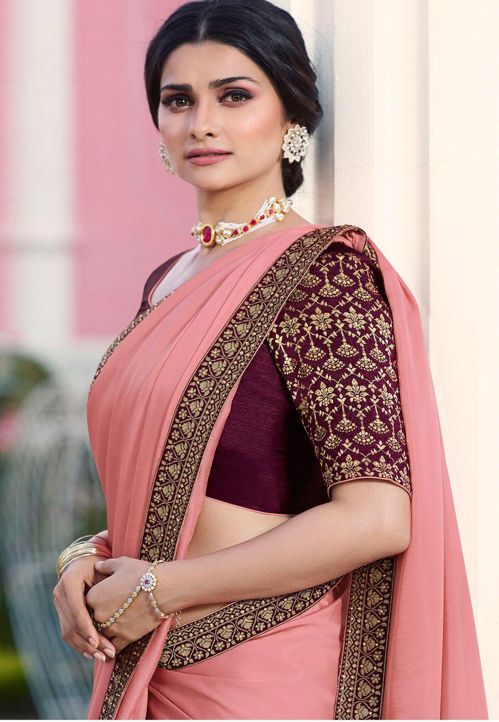 8e85b23da56f37 prachi desai pink silk saree with blouse 20762