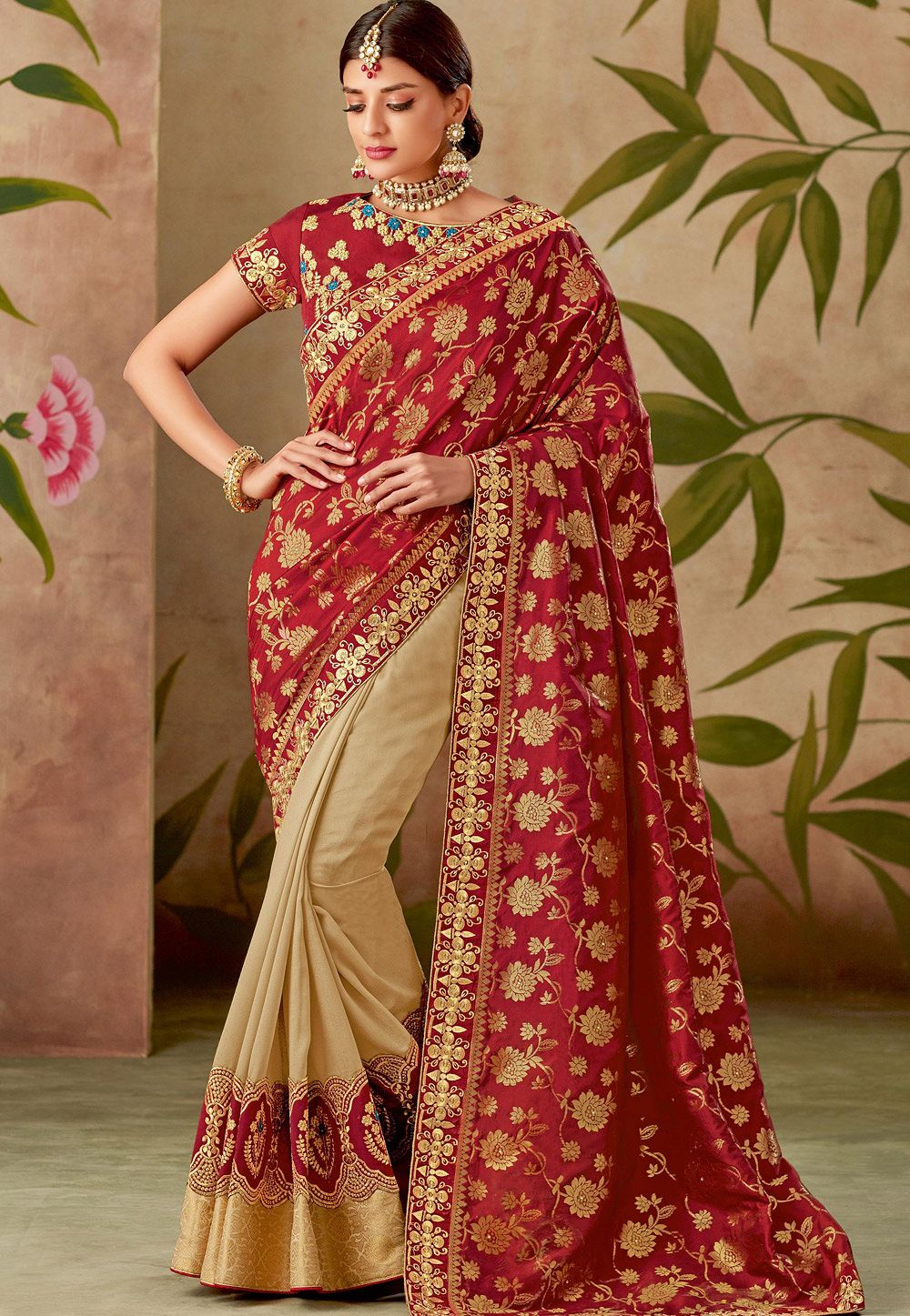 c54bf4dde3 red beige silk embroidery saree with raw silk blouse 13104