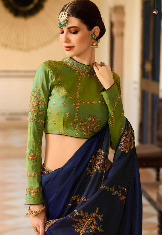 0d734d499 Buy Royal blue Barfi silk saree Indian wedding saree double blouse ...