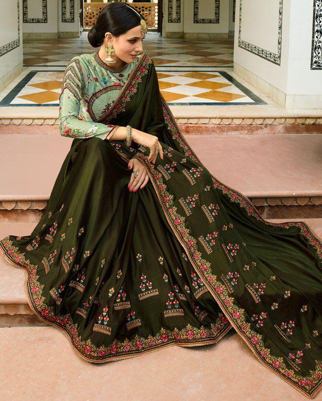 5a45fe55d Buy Mehandi green Color Barfi silk saree Indian wedding saree double ...