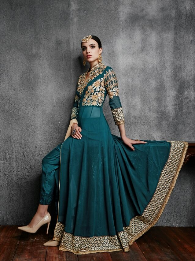 66448be6f4 Teal green color faux georgette wedding wear anarkali suit