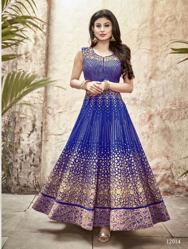 Buy Mouni Roy royal blue color faux georgette wedding wear anarkali ...