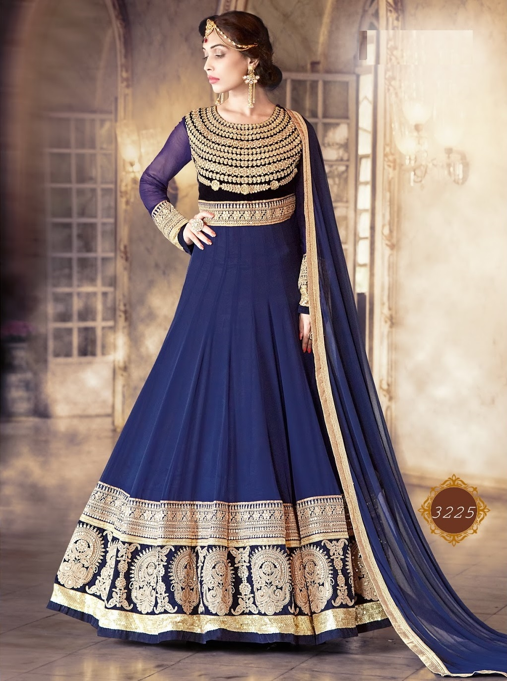 Buy Royal blue color pure georgette wedding wear anarkali salwar ...