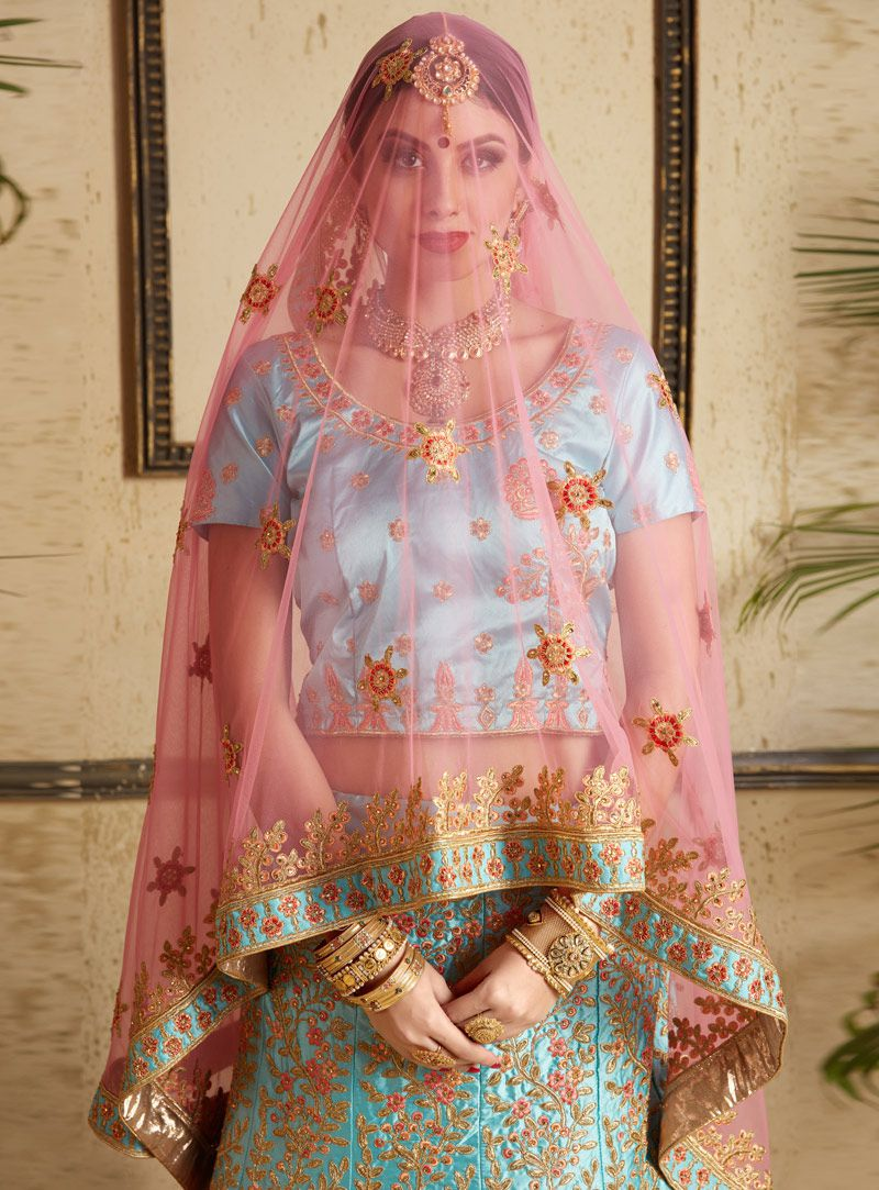 99afb9af9e Sky blue satin wedding lehenga choli 1301