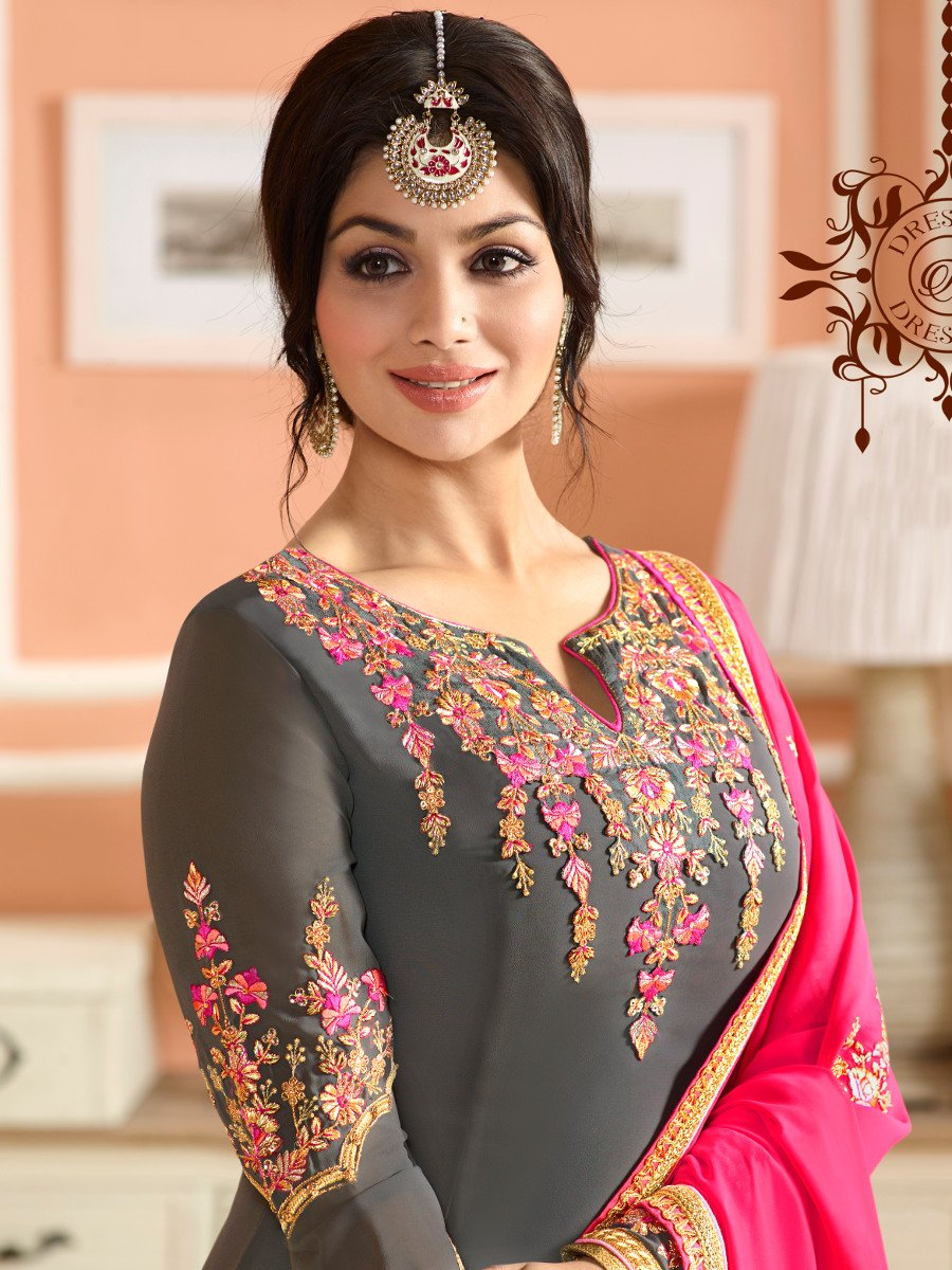 Buy Ayesha Takia grey and pink color party wear salwar ...