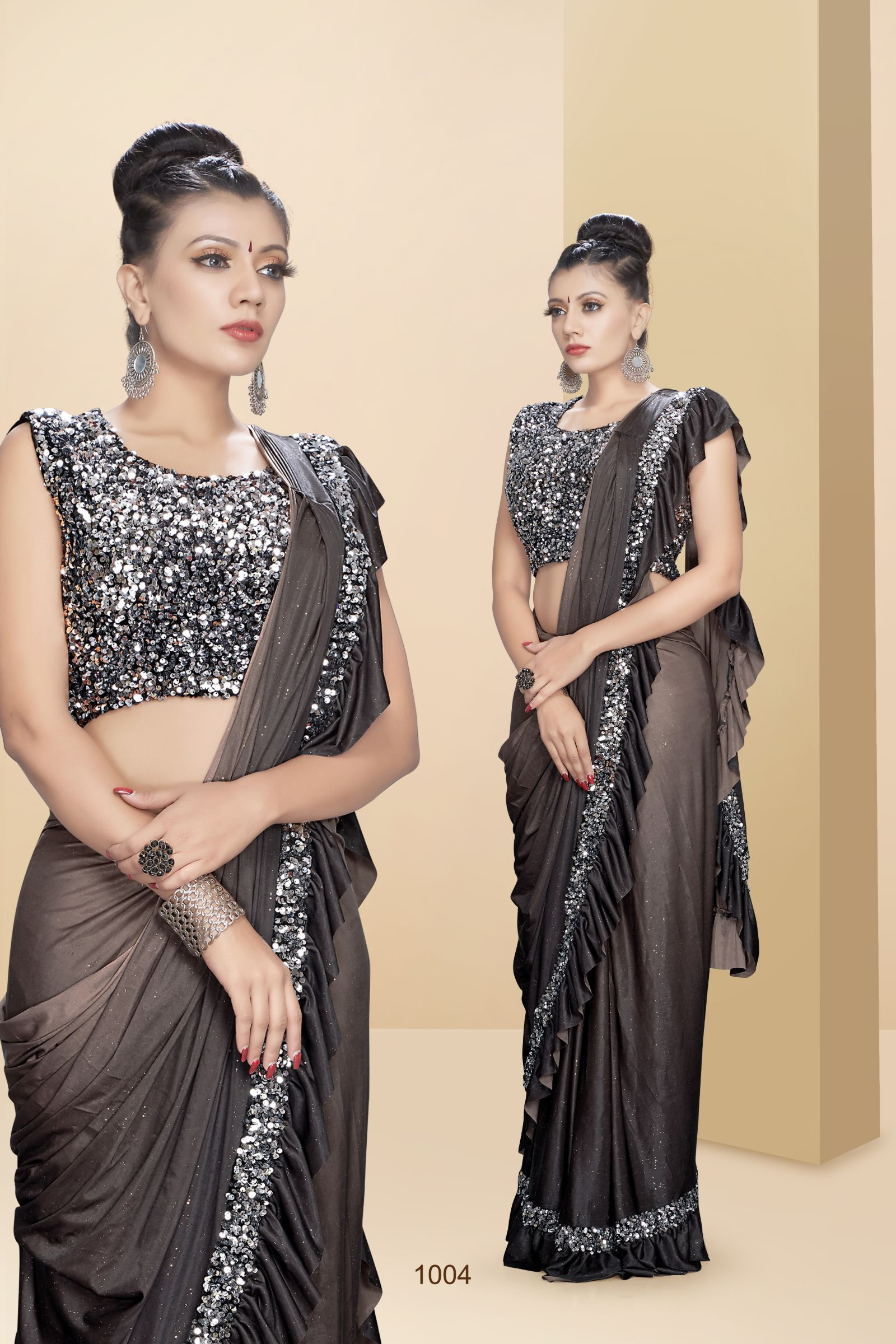 Party Wear Ruffle Saree 1104