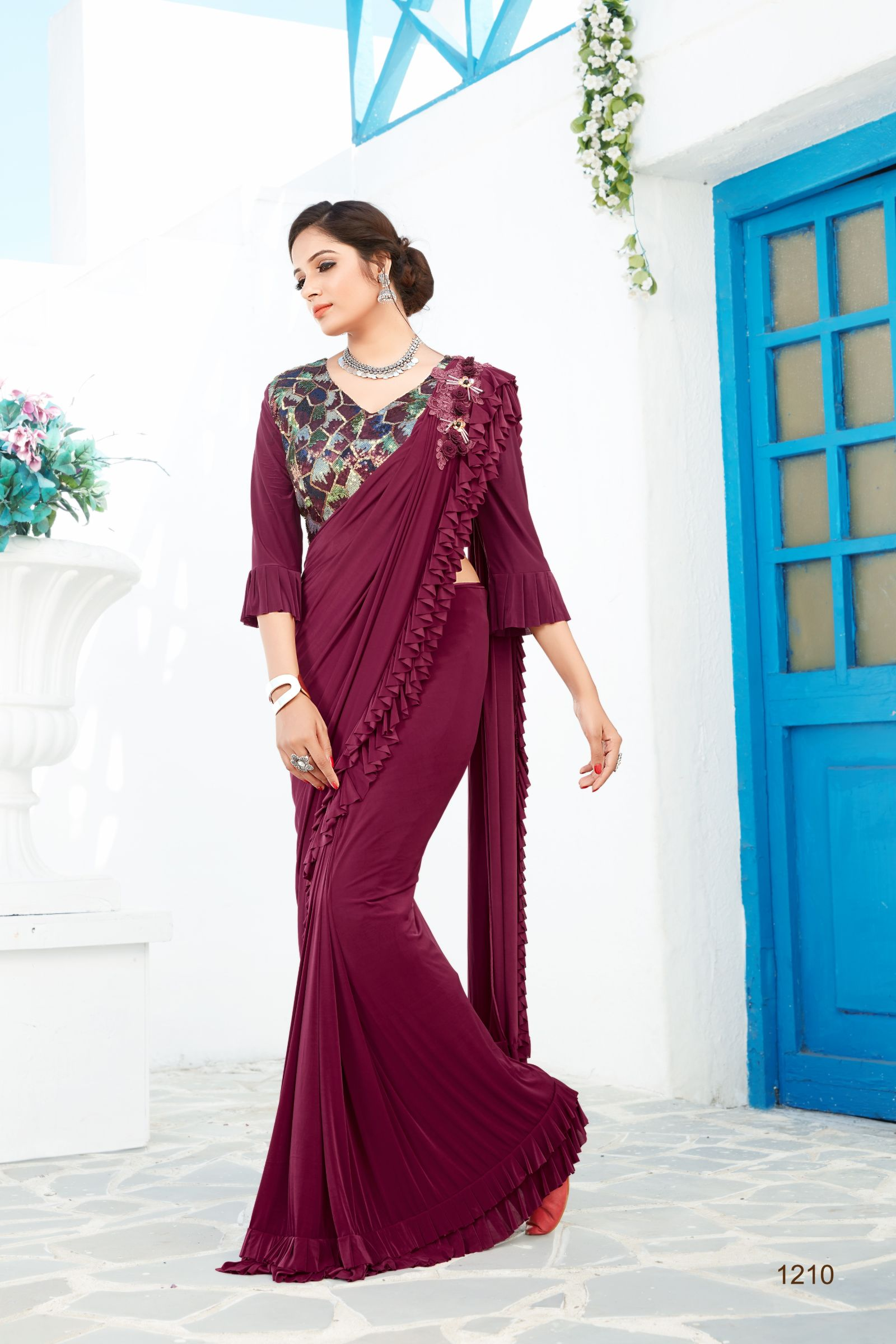Party Wear Ruffle Saree 1210
