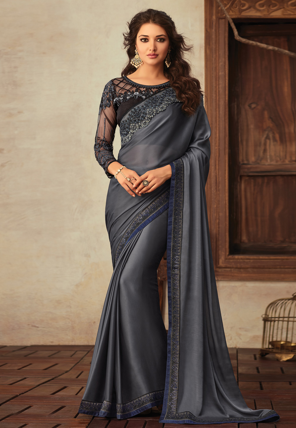 Dark V3911 Saree With Gray Georgette Blouse RA5jLq34