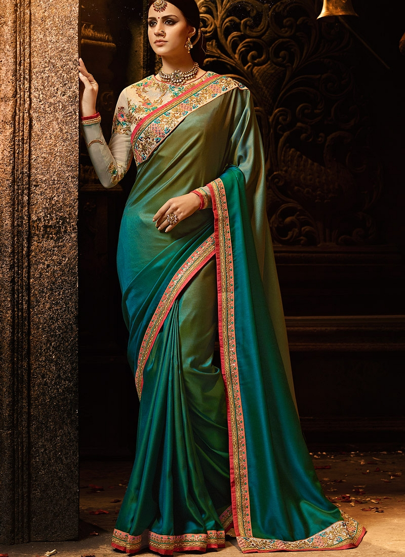 3dedd6bcf61 Buy Peacock blue and green silk Party wear saree in UK