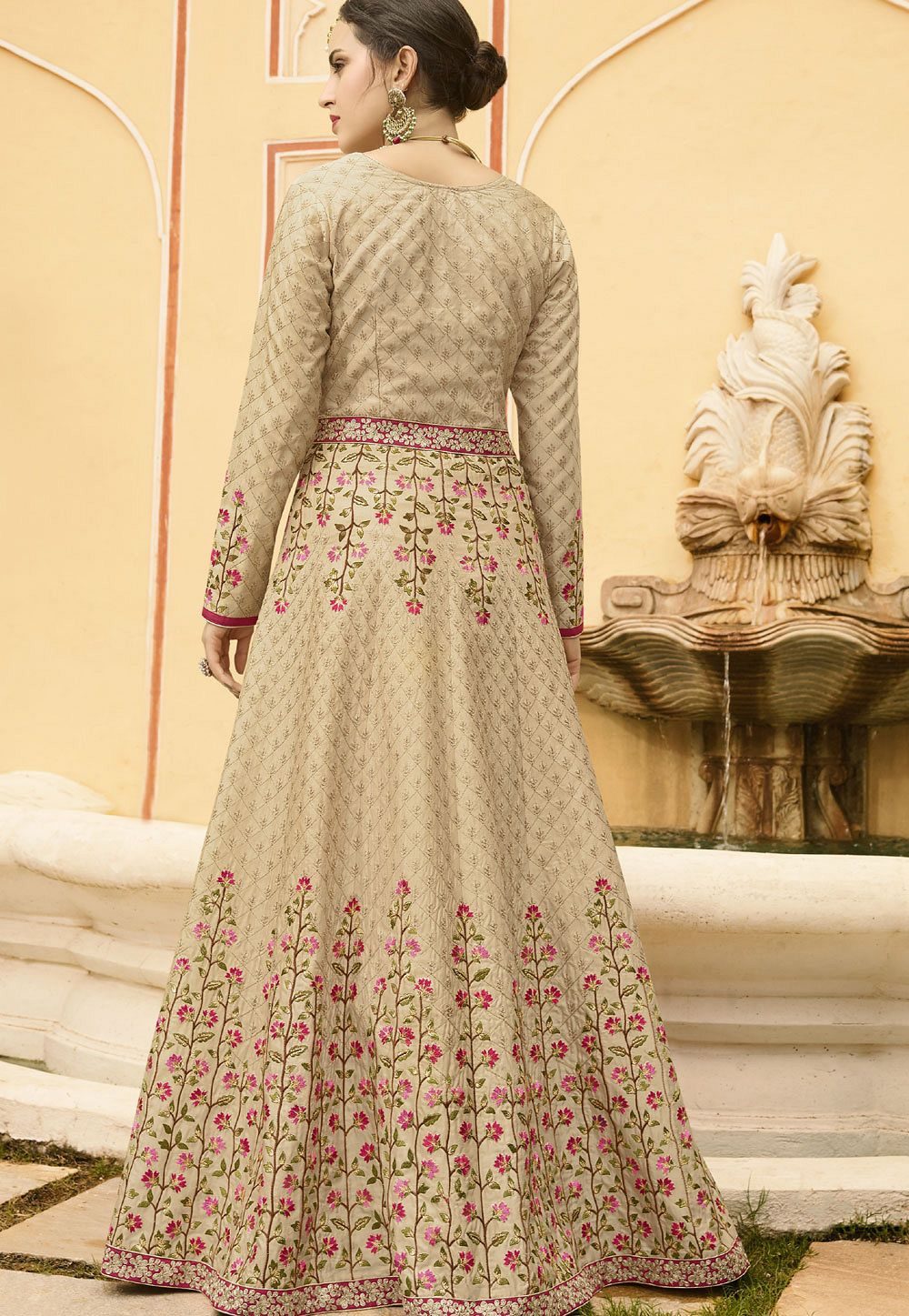 49ccf5ce477 Pink Silk Embroidered Anarkali Suit 106