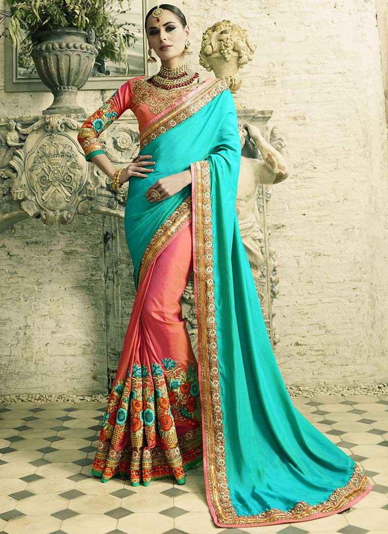Buy Blue and pink silk crepe and art silk wedding wear saree in UK ...