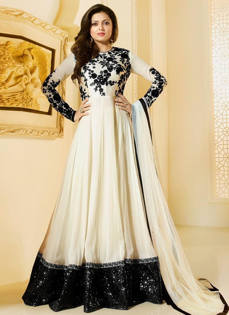0106d6ecd Buy Drashti Dhami Black and white color georgette party wear salwar ...