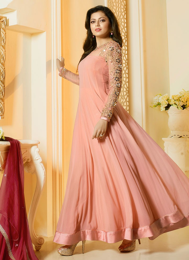 Buy Drashti Dhami peach and maroon color georgette party ...