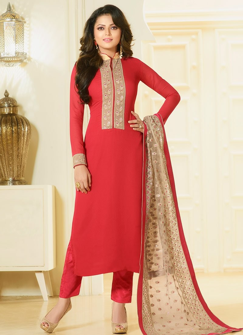 Buy Drashti Dhami Cherry Color Georgette Straight Cut