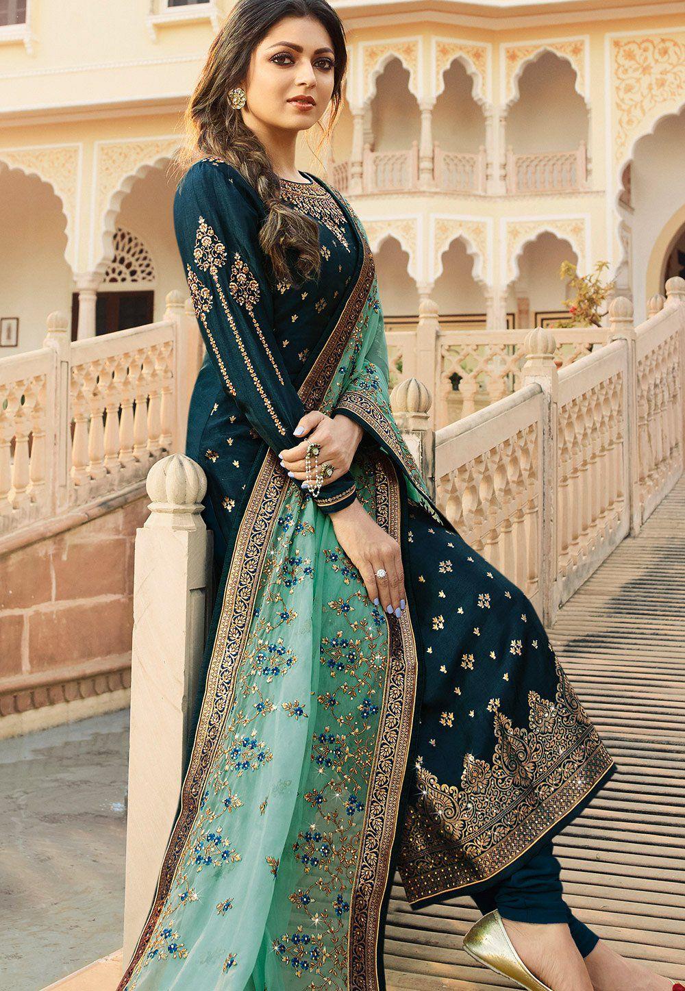 41f084437f dark blue jacquard embroidered straight churidar suit 3702