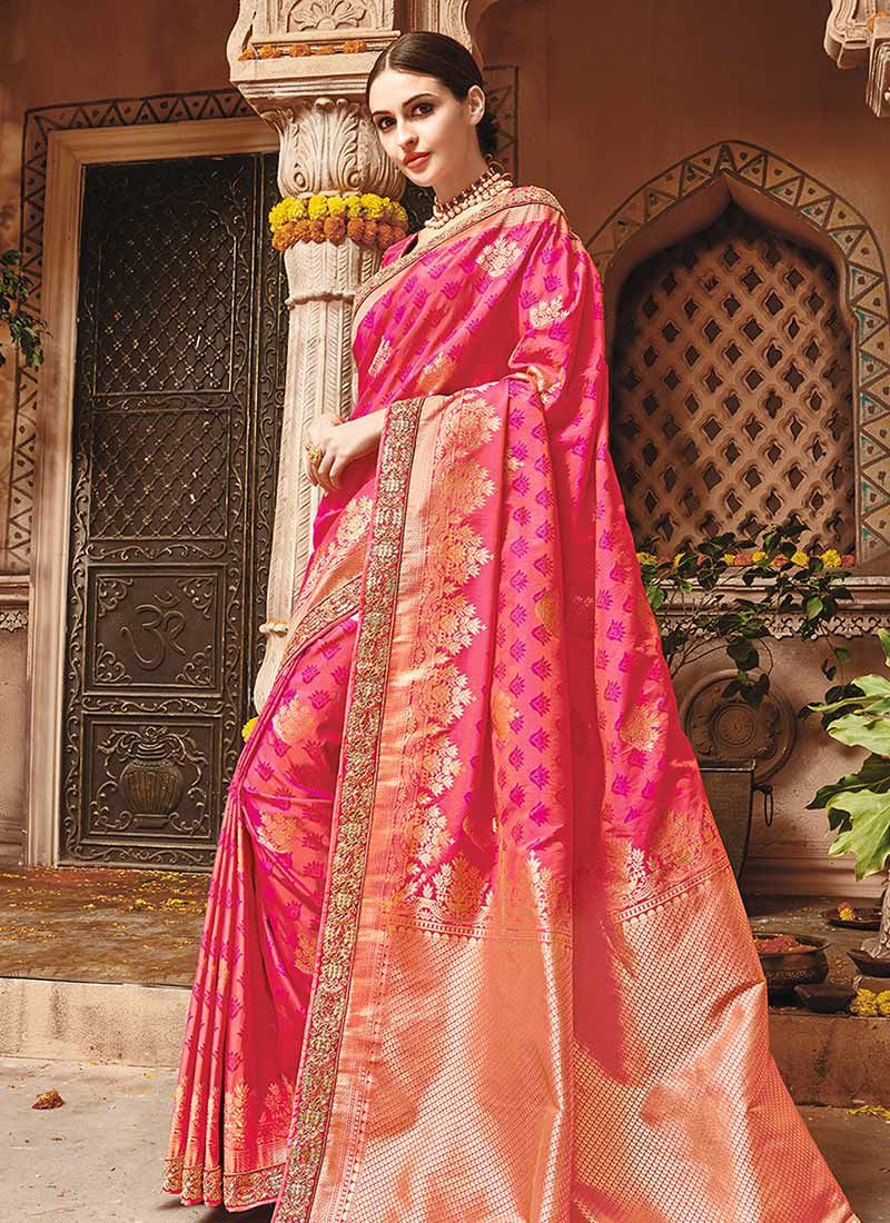 5f1687117d7 Pink pure banarasi silk wedding saree 1211